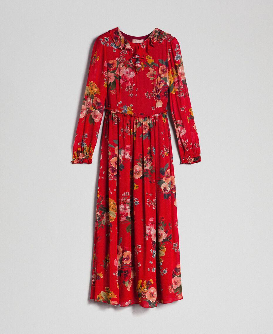 Vestido largo de georgette con estampado floral Estampado Flores de Campo Granada Mujer 192TP2753-0S