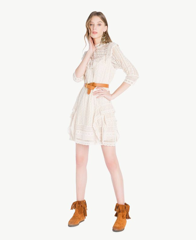 TWINSET Fringed boots Leather Brown Woman CS8TAW-05