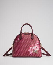 Bauletto-Tasche aus bedrucktem Lederimitat Schmetterling-Blumen-Print Rote-Bete-Rot Frau 192TA7015-01