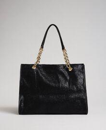 Reisetasche aus Lederimitat in Glitzeroptik Schwarz Frau 192LL7ZFF-03