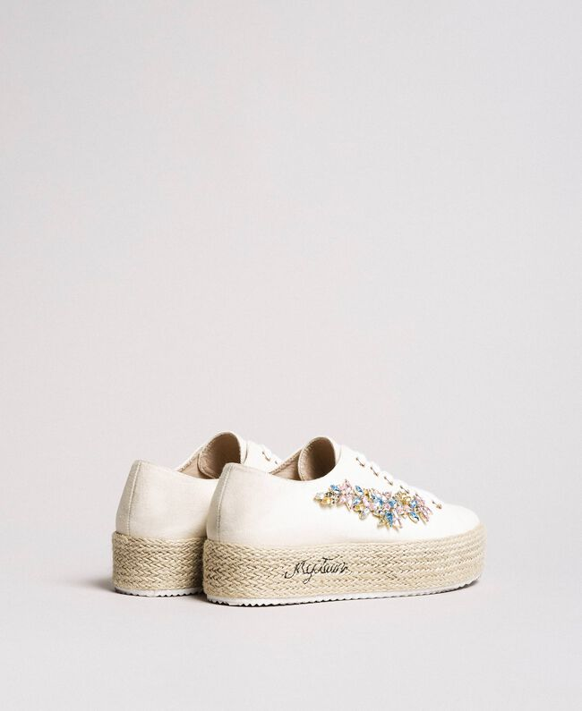 Sneakers mit Steinapplikation und Logo Porzellan Beige Frau 191MCP03A-04