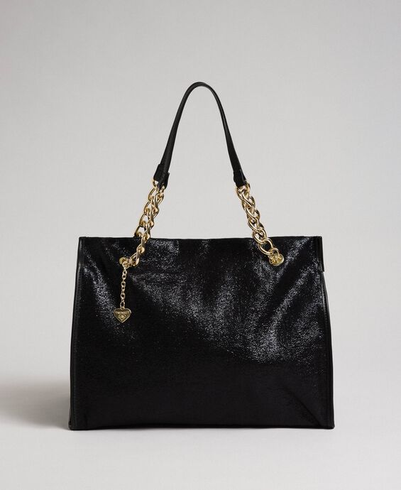Faux leather glitter travel bag