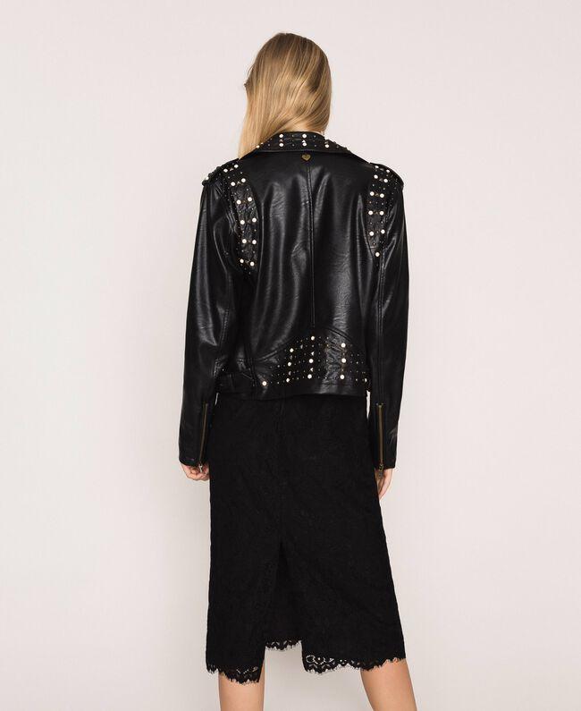Байкерская куртка из искусственной кожи с заклепками и жемчугом Черный женщина 201TP241A-04