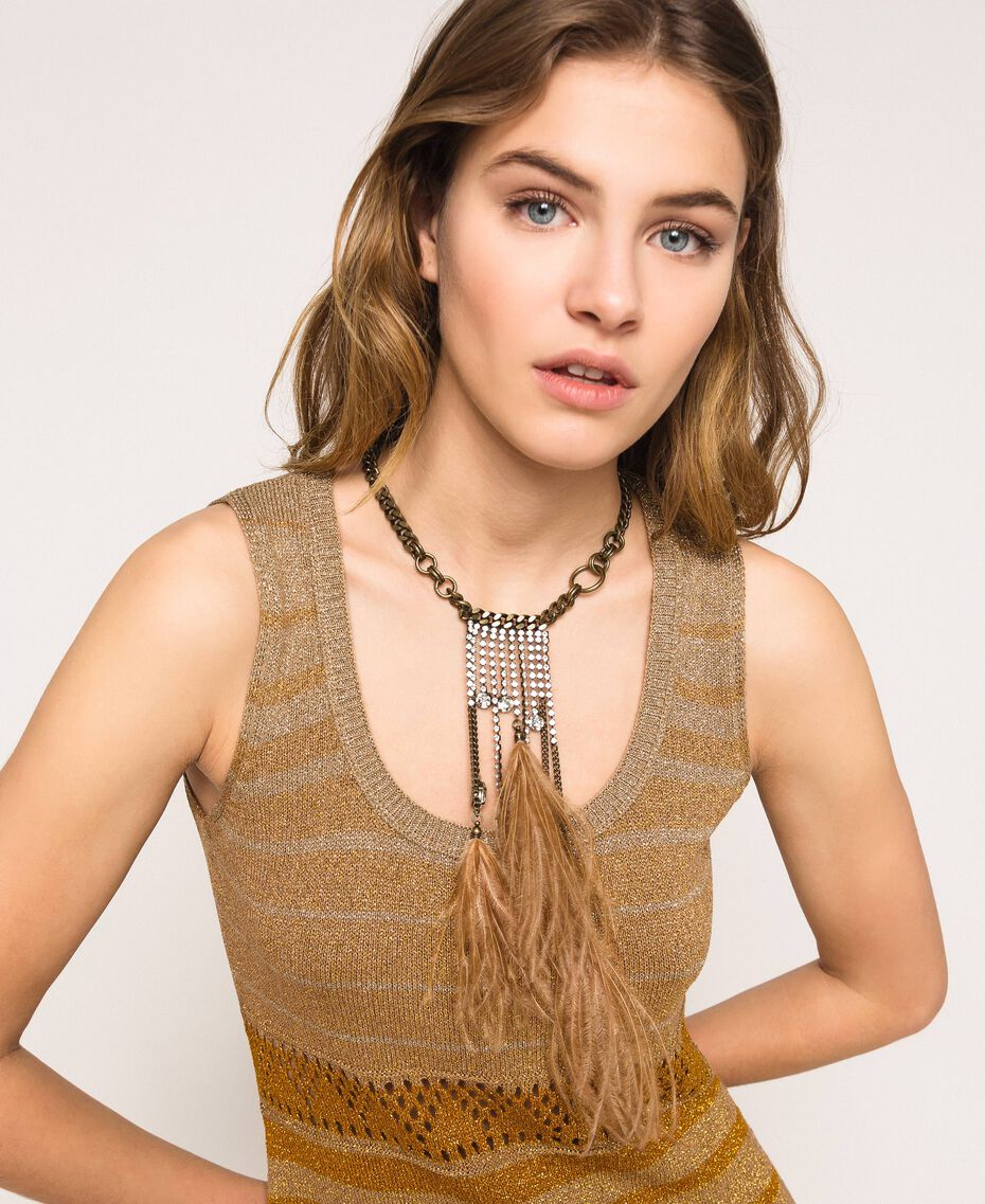 Collier ras-de-cou avec pierres, plumes et strass Rose Bouton Femme 201TA4305-0S