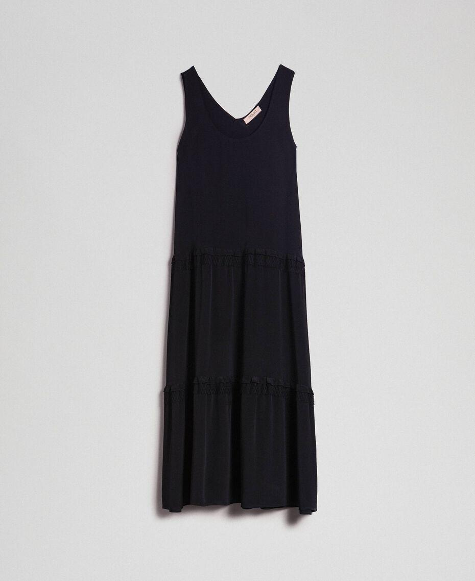 Long dress in silk blend crêpe de Chine Black Woman 192TP2361-0S