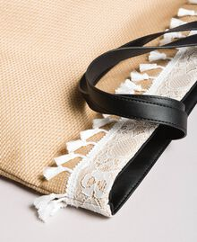 "Beach bag with lace and mini tassels ""Milkway"" Beige Woman 191LB4ZLL-02"