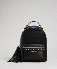 Faux leather backpack with studs Black Woman 192TO8165-01
