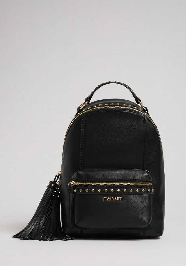 Faux leather backpack with studs