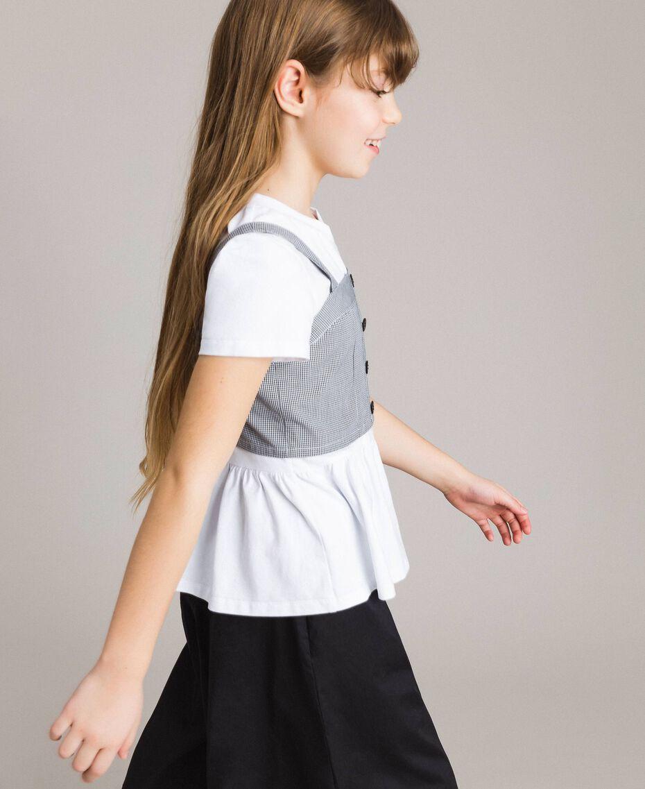T-Shirt aus Jerseystoff mit Gingham-Top Zweifarbig Optisch Weiß / Gingham Kind 191GJ2730-02