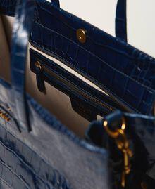 """Большая кожаная сумка-шоппер Twinset Bag Принт Голубой Крокодил """"Темно-синий"""" женщина 202TB7110-05"""
