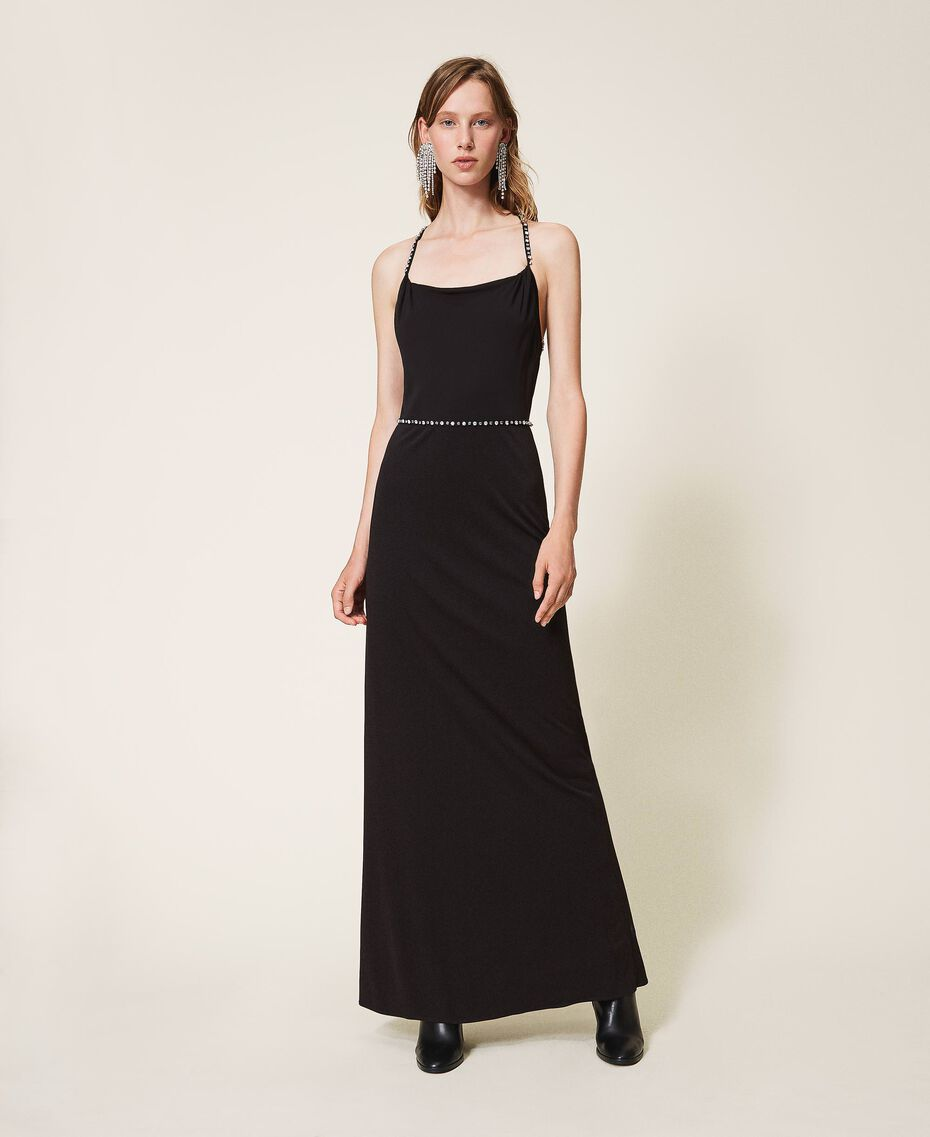 Long dress with embroidery Black Woman 202TP2404-02