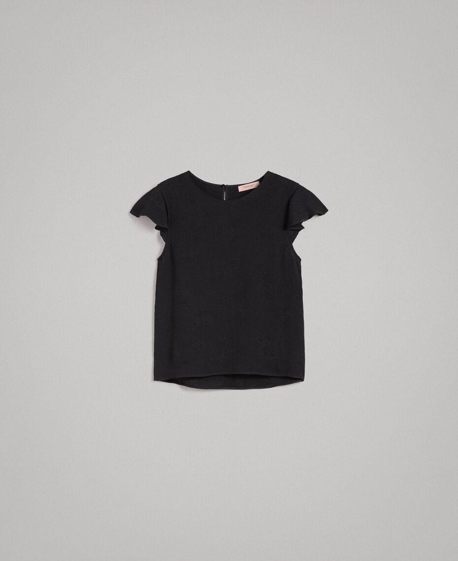 Blouse avec papillons jacquard Noir Femme 191TT2142-0S