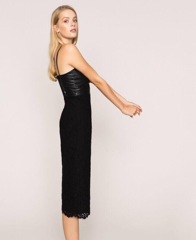 Macramé lace sheath dress Black Woman 201MP2233-01
