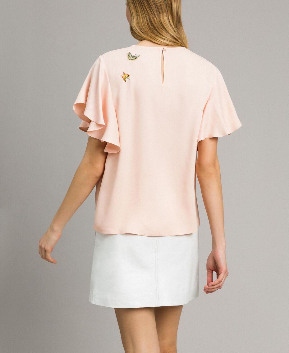 """Satin-Bluse mit Schmetterlings-Stickerei """"Rose Sand"""" Pink Frau 191TT2115-03"""
