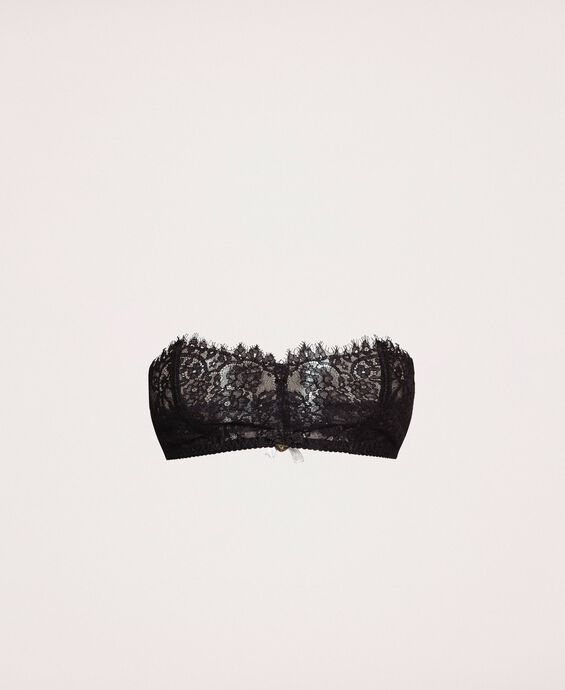 Lace and tulle bandeau bra