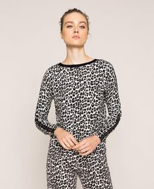 Animal print jumper-cardigan Lily Animal Print / Black Woman 201MP306A-05