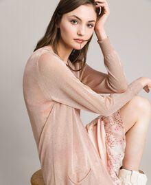 Lurex maxi cardigan Light Pearl Pink Lurex Woman 191TP3220-04