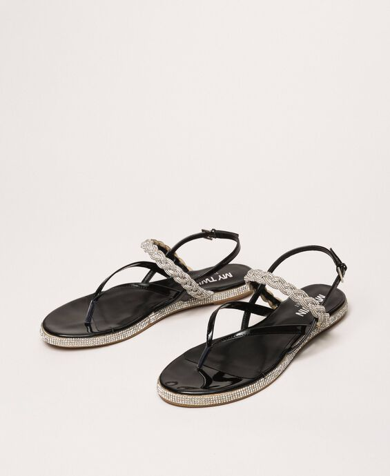Thongs sandals with plait and rhinestones