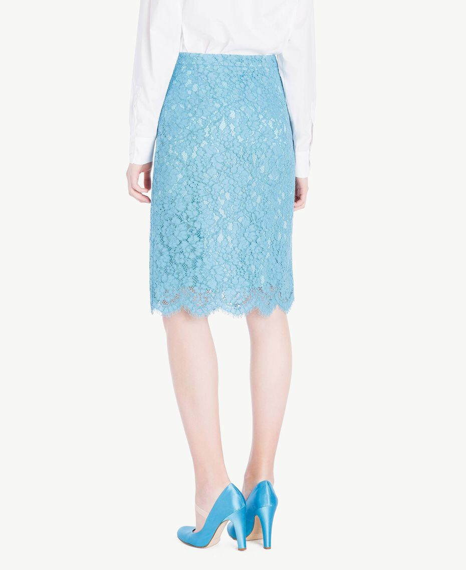 Mid-length lace skirt Oriental Blue Woman PS82XB-03