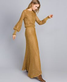 Mesh lurex long dress Gold Yellow Woman TA83EA-02