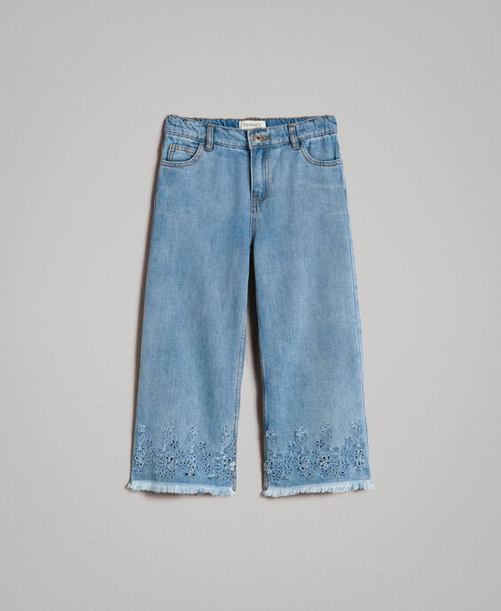 Wide leg jeans with broderie anglaise embroidery