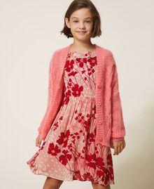 """Длинный кардиган из смесового мохера, вязаный косичками Розовый """"Персиковый цвет"""" Pебенок 202GJ3660-01"""