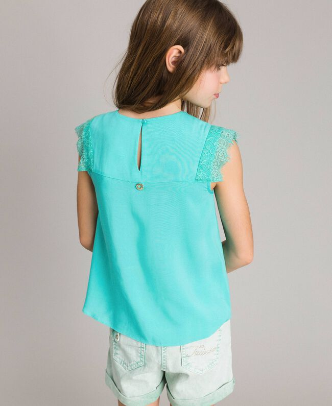 """Blouse in flowing fabric with lace """"Island Paradise"""" Light Blue Child 191GJ2432-03"""