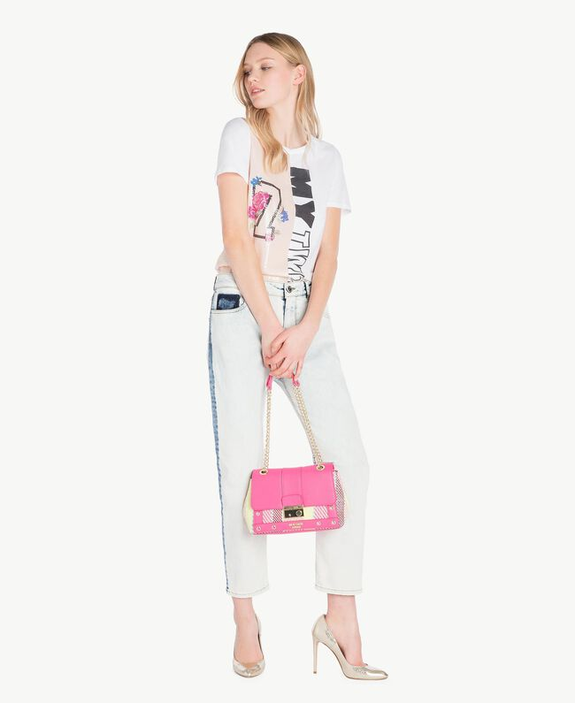 T-Shirt mit Pailletten Zweifarbig Optisches Weiß / Rosé-Organza Frau YS823H-05