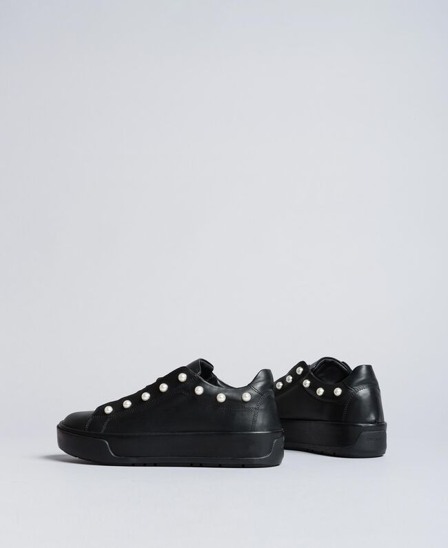 Leather sneakers with pearls Black Woman CA8PBU-03