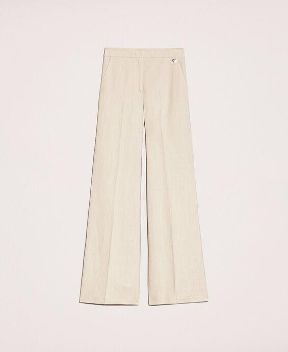 Pantalon en toile de lin mélangé