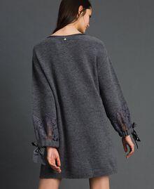 Knit dress with lace Dark Gray Mélange Woman 192LI31AA-03