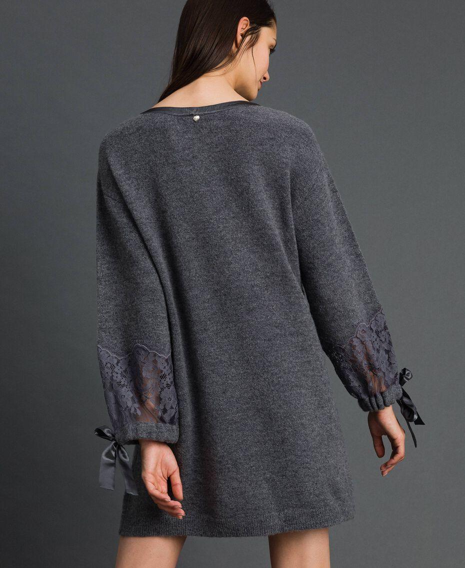 Robe en maille avec dentelle Gris foncé chiné Femme 192LI31AA-03