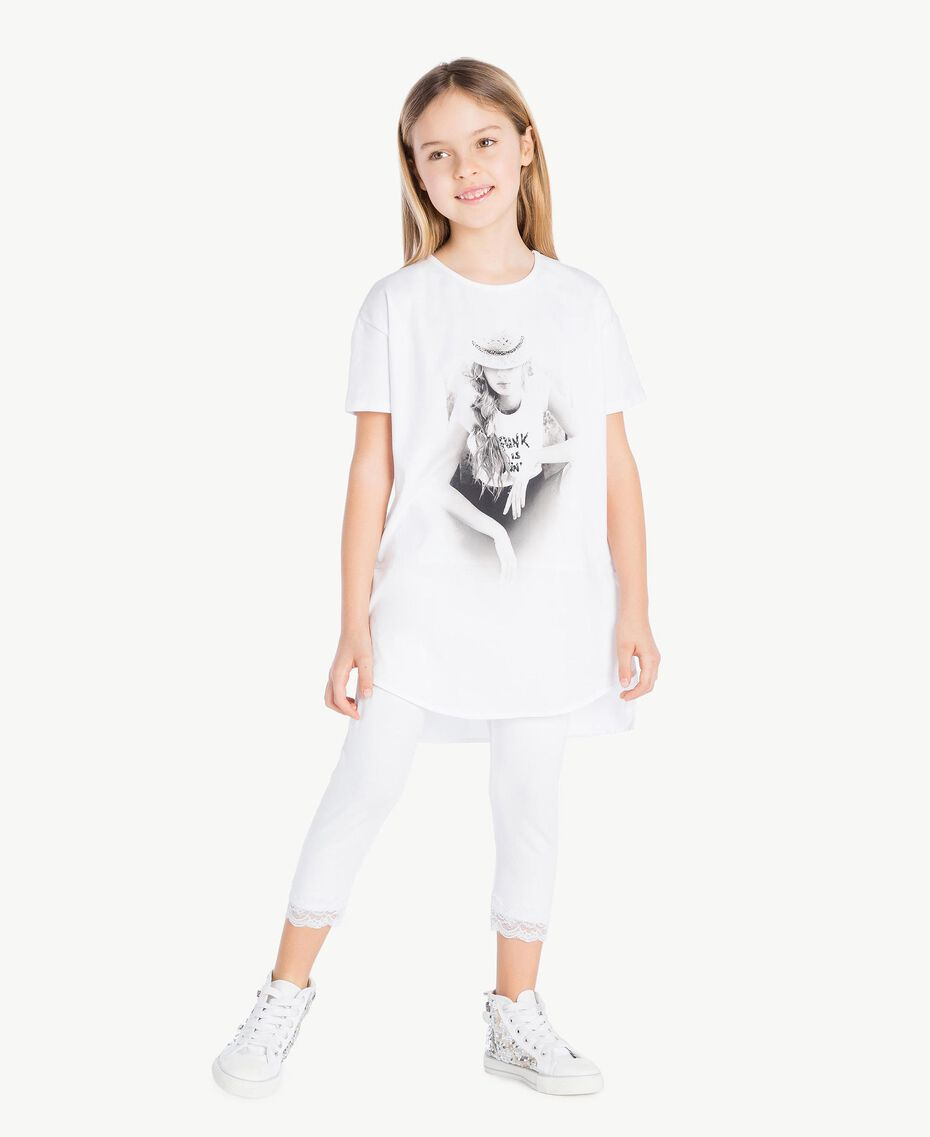"Printed maxi T-shirt ""Papers"" White Child GS821N-02"