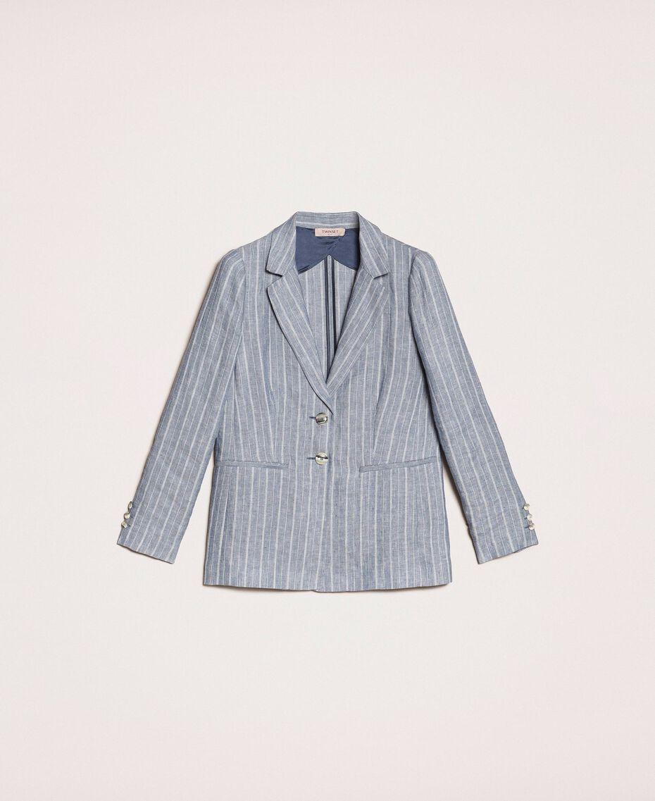 Double breasted pin stripe linen blazer Blue Pin / Antique White Stripes Woman 201TT2303-0S