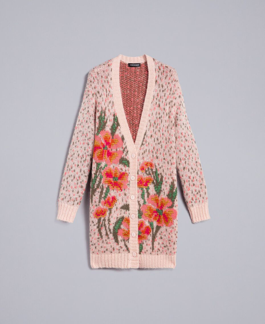 """Long floral and polka dot cardigan """"Pale Pink"""" Flower Jacquard Woman TA83CB-0S"""
