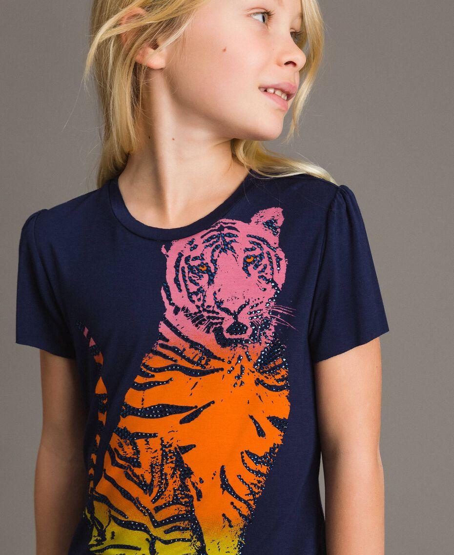 T-shirt en viscose avec imprimé et strass Indigo Enfant 191GJ2450-0S