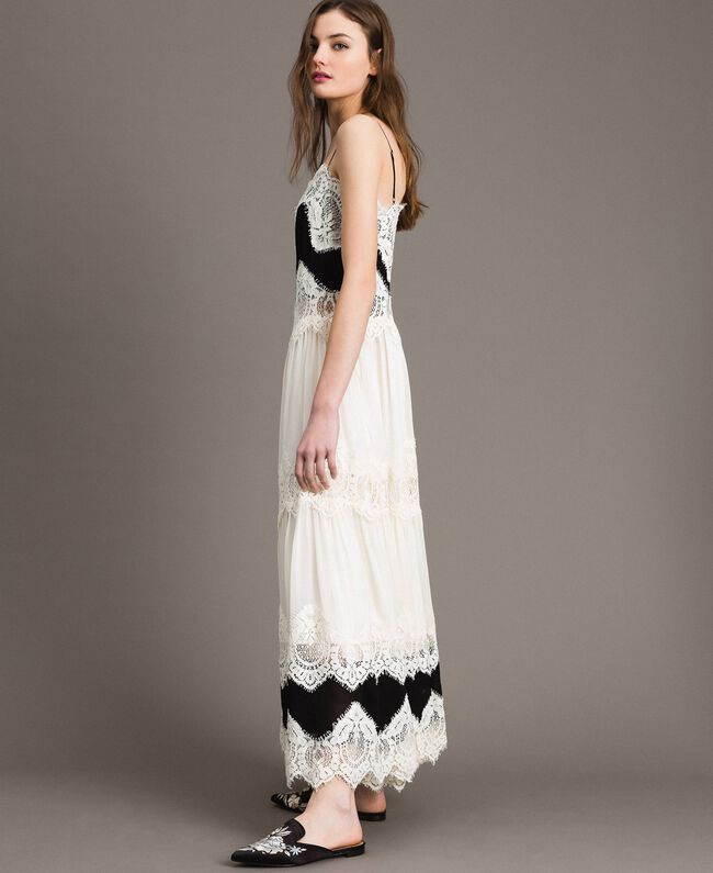 low priced 5a8db d8784 Abito lungo in georgette e pizzo Donna, Bianco | TWINSET Milano