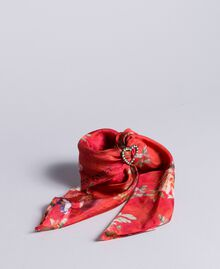 "Foulard aus Seide mit Blumenprint Print ""Red Garden"" Frau AA8P14-01"