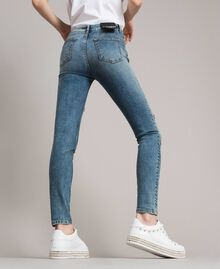 Skinny jeans with bezels and rhinestones Denim Blue Woman 191MP2481-03