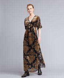 Robe longue en velours dévoré Camel Dévoré Femme PA82M4-02