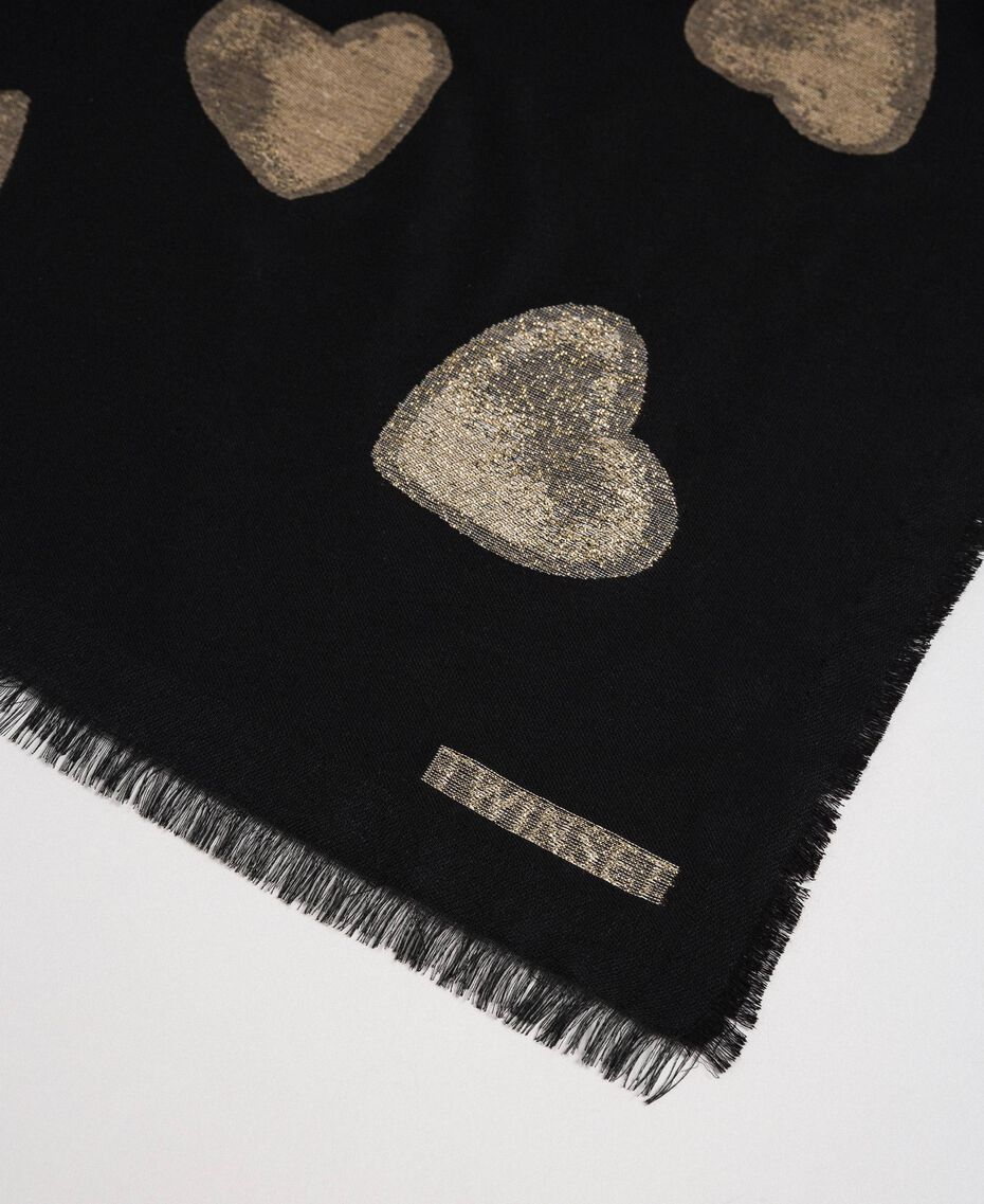 Fringed scarf with jacquard hearts Black Heart Woman 192TO536F-02