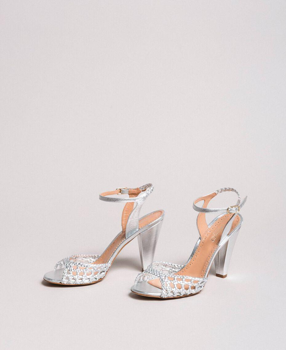 Sandales en cuir tressé laminé Argent / Nickel Femme 191TCT01J-01