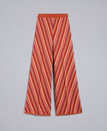 "Hose aus Lurexjacquard mit mehrfarbigem Streifenmuster Jacquard ""Gebranntes"" Orange / Lurexstreifen Frau TA838A-0S"