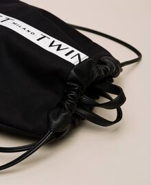 Canvas sackpack with logo Black Woman 201TO8101-03