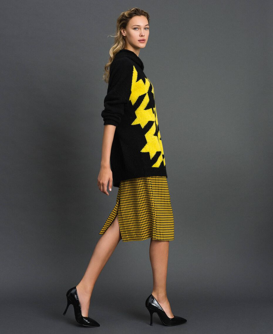 Mohair blend maxi jumper with inlay Black / Yellow Woman 192MT3250-02