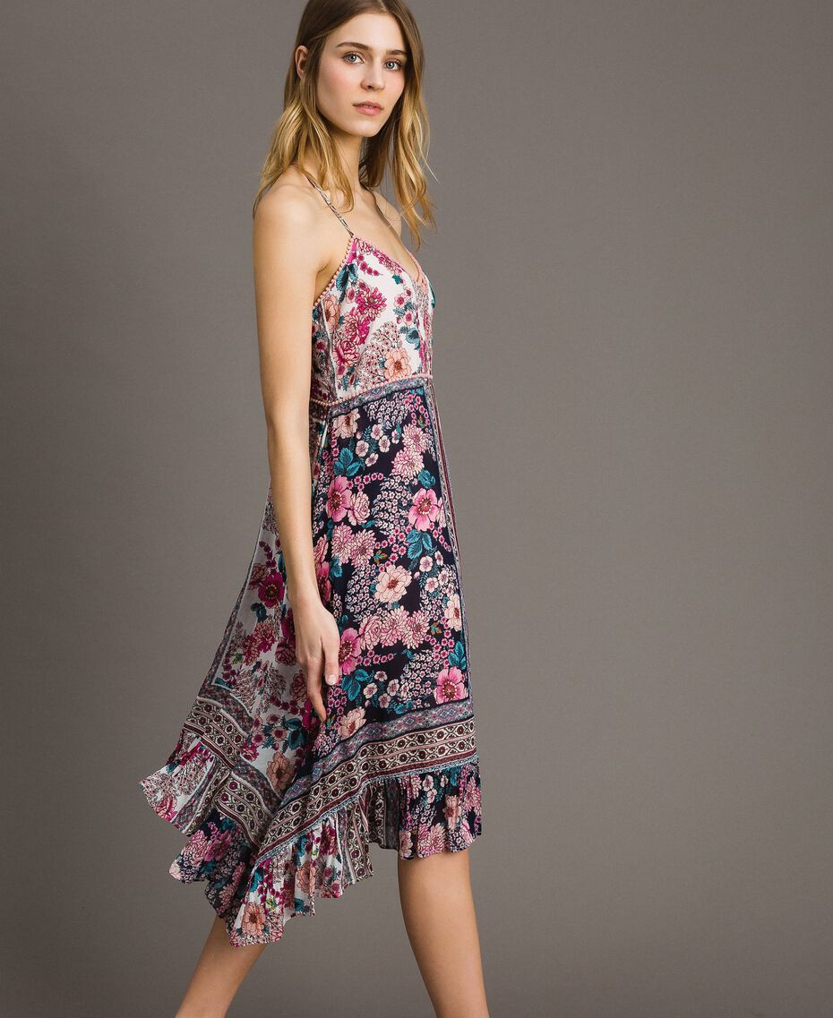 "Chiffon dress with shawl print ""Psychedelic Pink"" Fuchsia Scarf Print Woman 191LB2HEE-02"