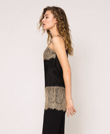 "Satin top with lace Two-tone Black / ""Hemp"" Beige Woman 201MP2134-02"