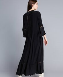 Long silk blend pleated dress Black Woman TA823N-03