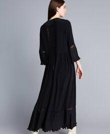 Robe longue en soie mélangée avec plissé Noir Femme TA823N-03