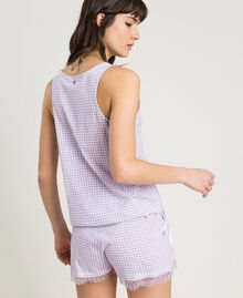 Short gingham print pajamas Lilac Woman 191LL2EDD-03